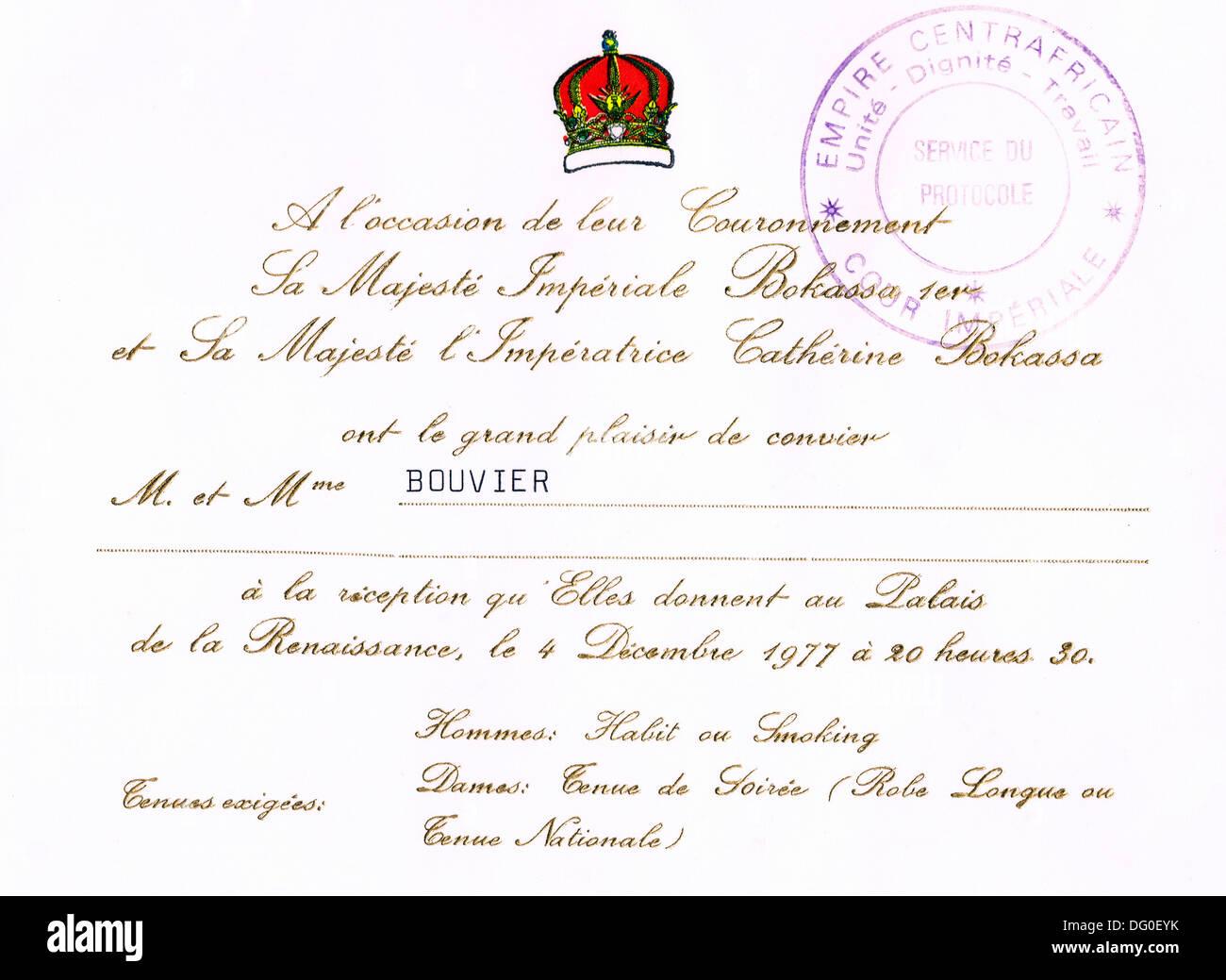Genuine invitation for the coronation of Emperor Bokassa 1st (central african republic) - Stock Image