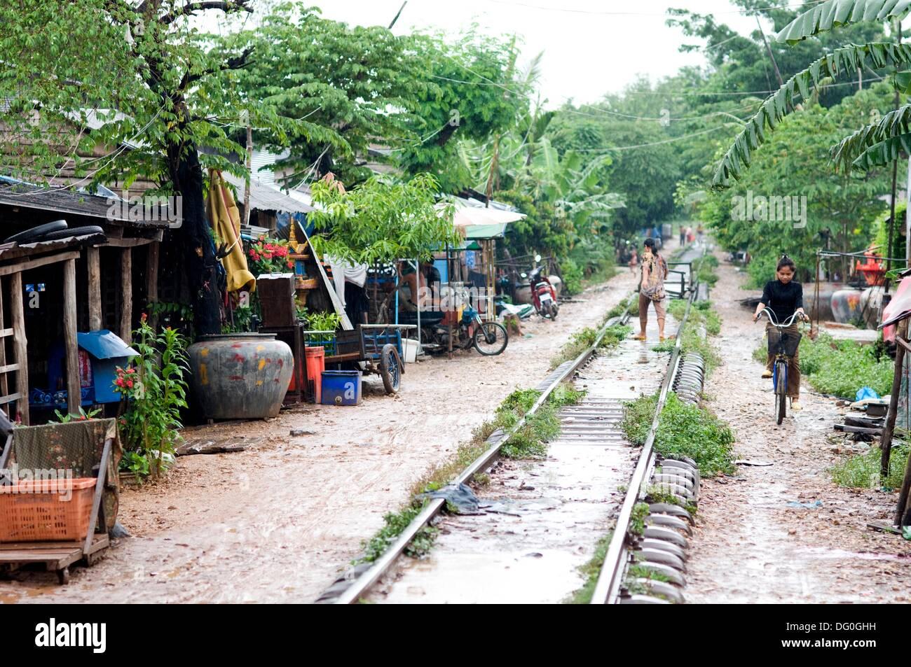 Train line, Sisophan, Cambodia, - Stock Image