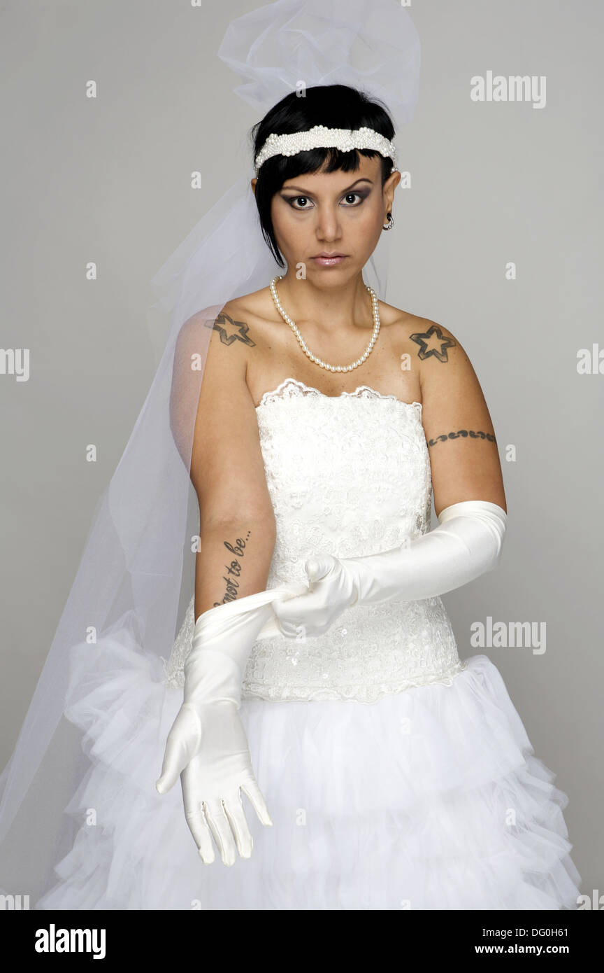 Punk Bride in her late 20s in a studio setting Stock Photo: 61479097 ...