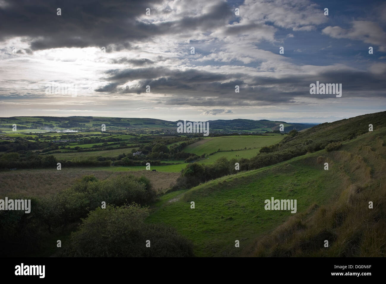 Early evening over the Purbeck Hills, Dorset, UK - Stock Image