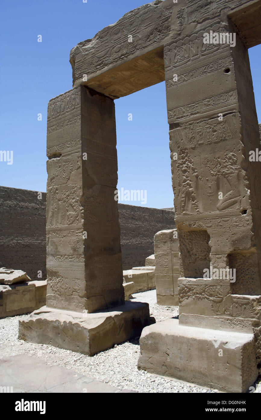 Temple of king Seti I the father of Rameses II 19th dynasty, ruled 1318-1304 BC, west bank, luxor Thebes, Egypt Stock Photo