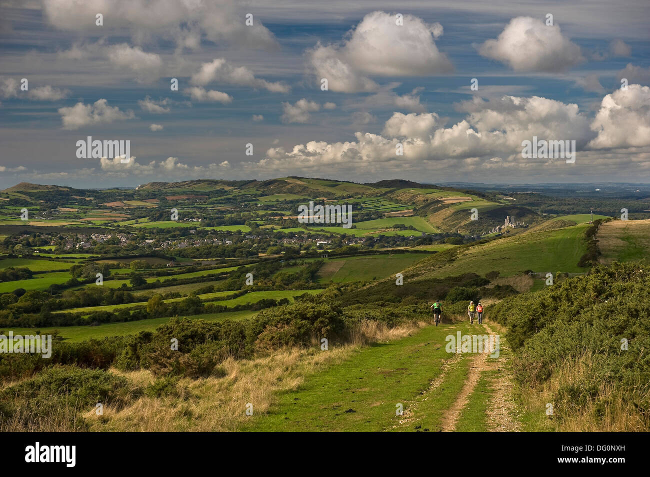 Cycling and walking in the Purbeck Hills, Dorset, UK - Stock Image