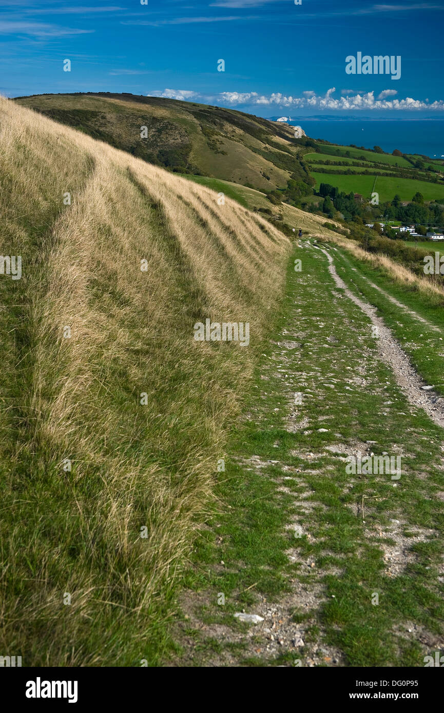 A footpath down to Swanage from the Purbeck Hills, Dorset, UK - Stock Image