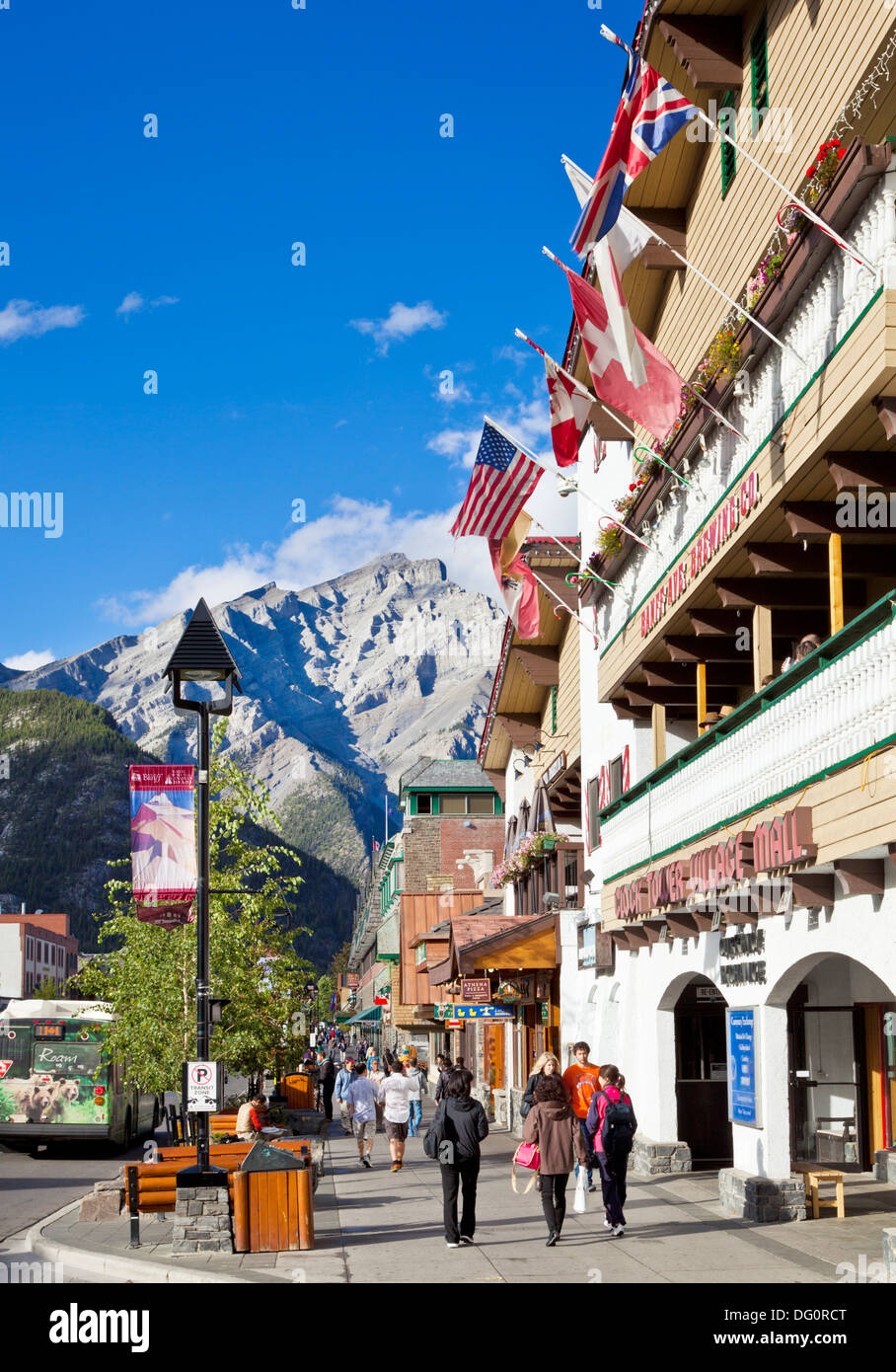 Banff town and Cascade Mountain Banff national Park Alberta canada North America - Stock Image