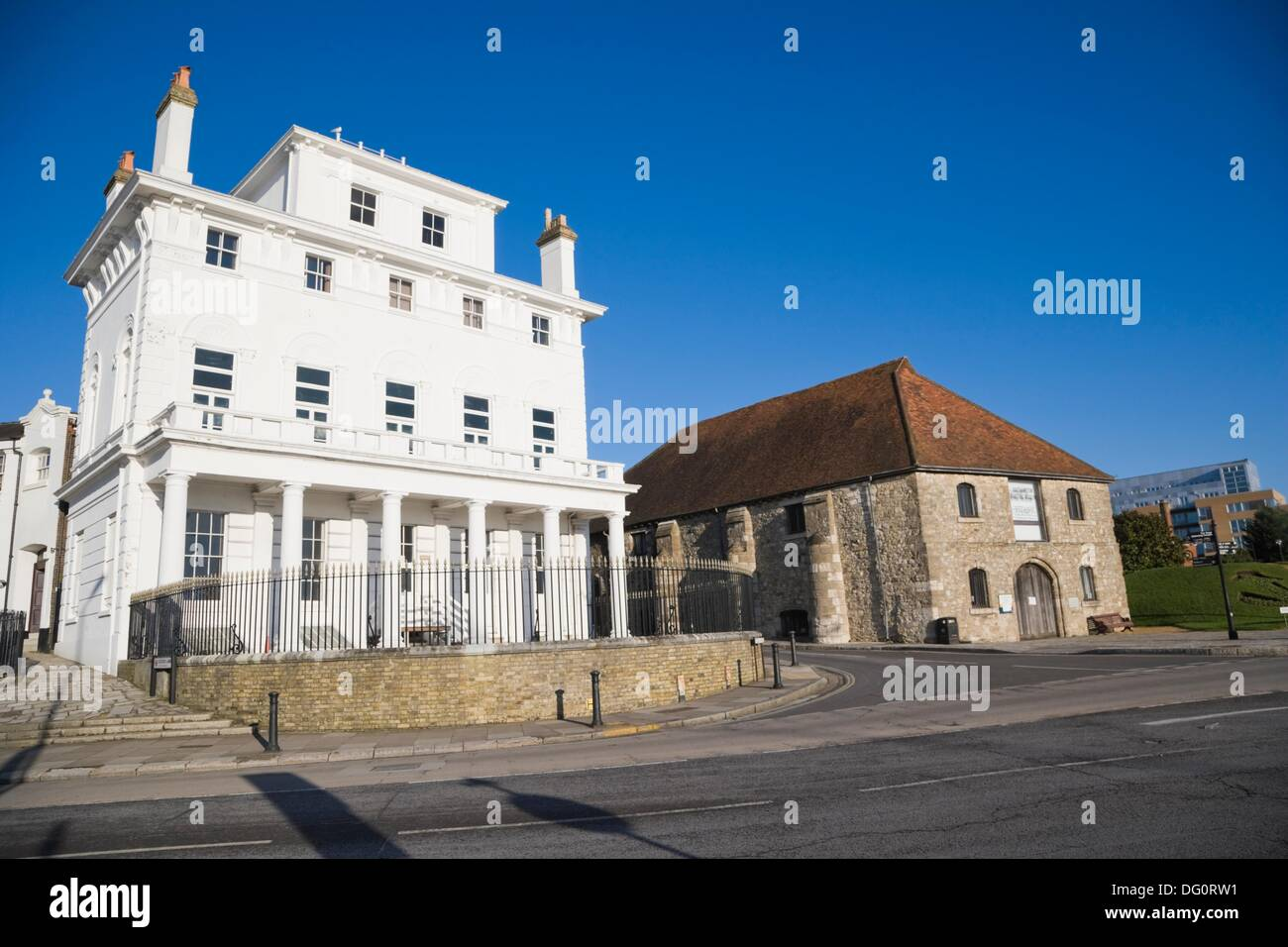 Royal Yacht Club and The former medieval Wool House. Southampton Maritime Museum. Corner of Bugle Street and Town Stock Photo