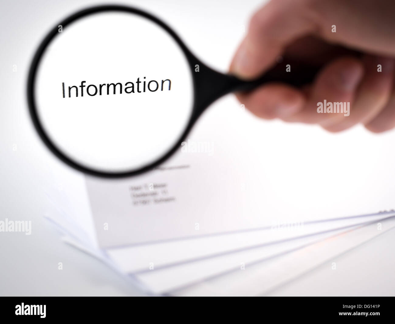 Letter with the word information in the letterhead - Stock Image