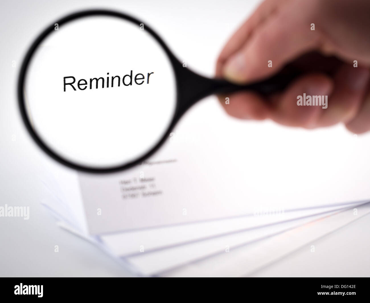 Cover letter with the word Reminder in the letterhead - Stock Image