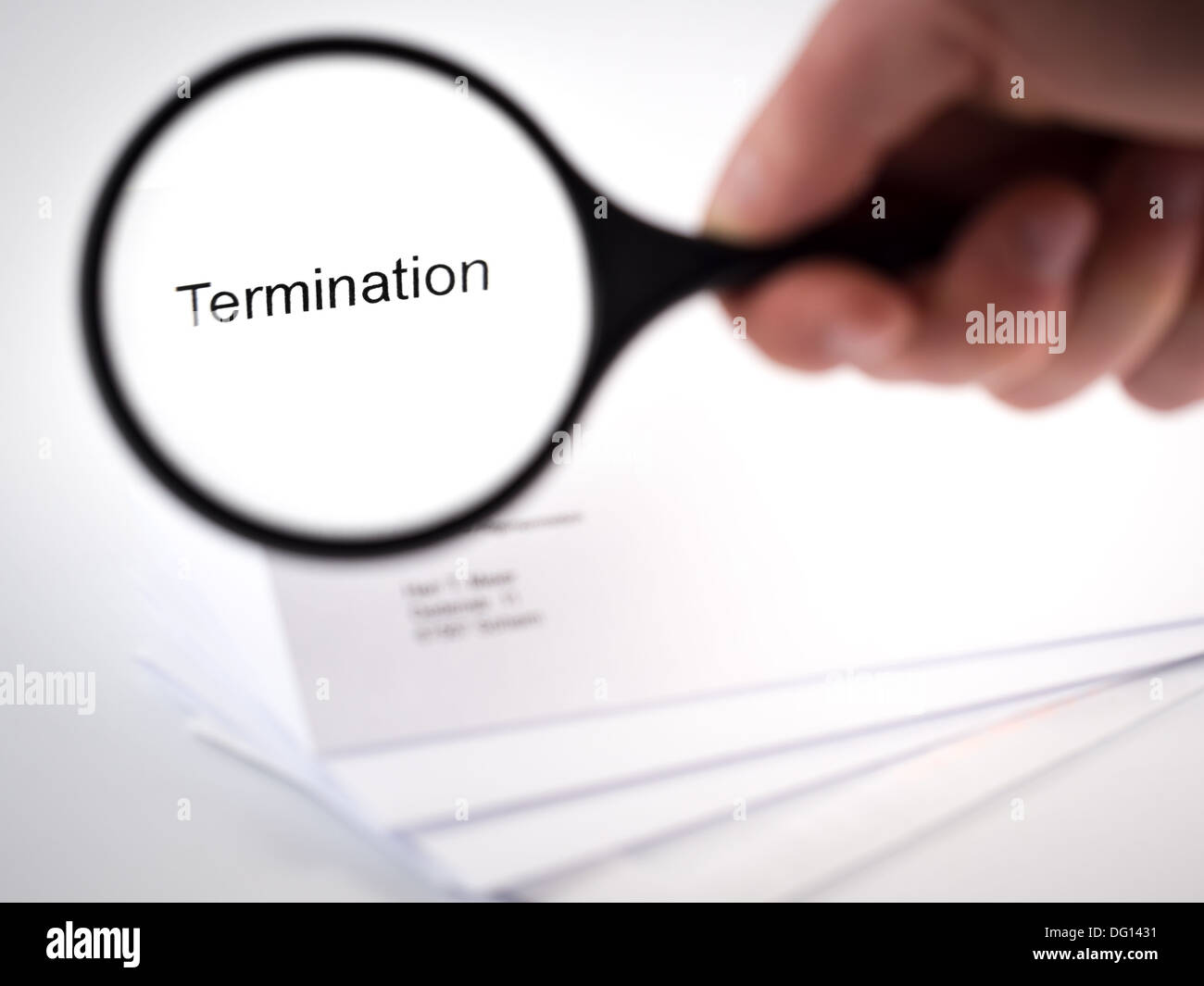Cover letter with the word Termination in the letterhead - Stock Image