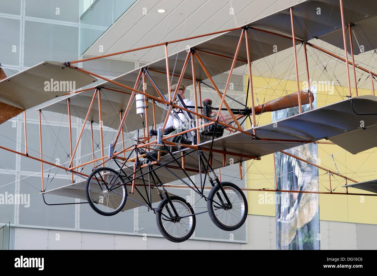 bi-plane exhibit, victoria museum melbourne victoria australia - Stock Image