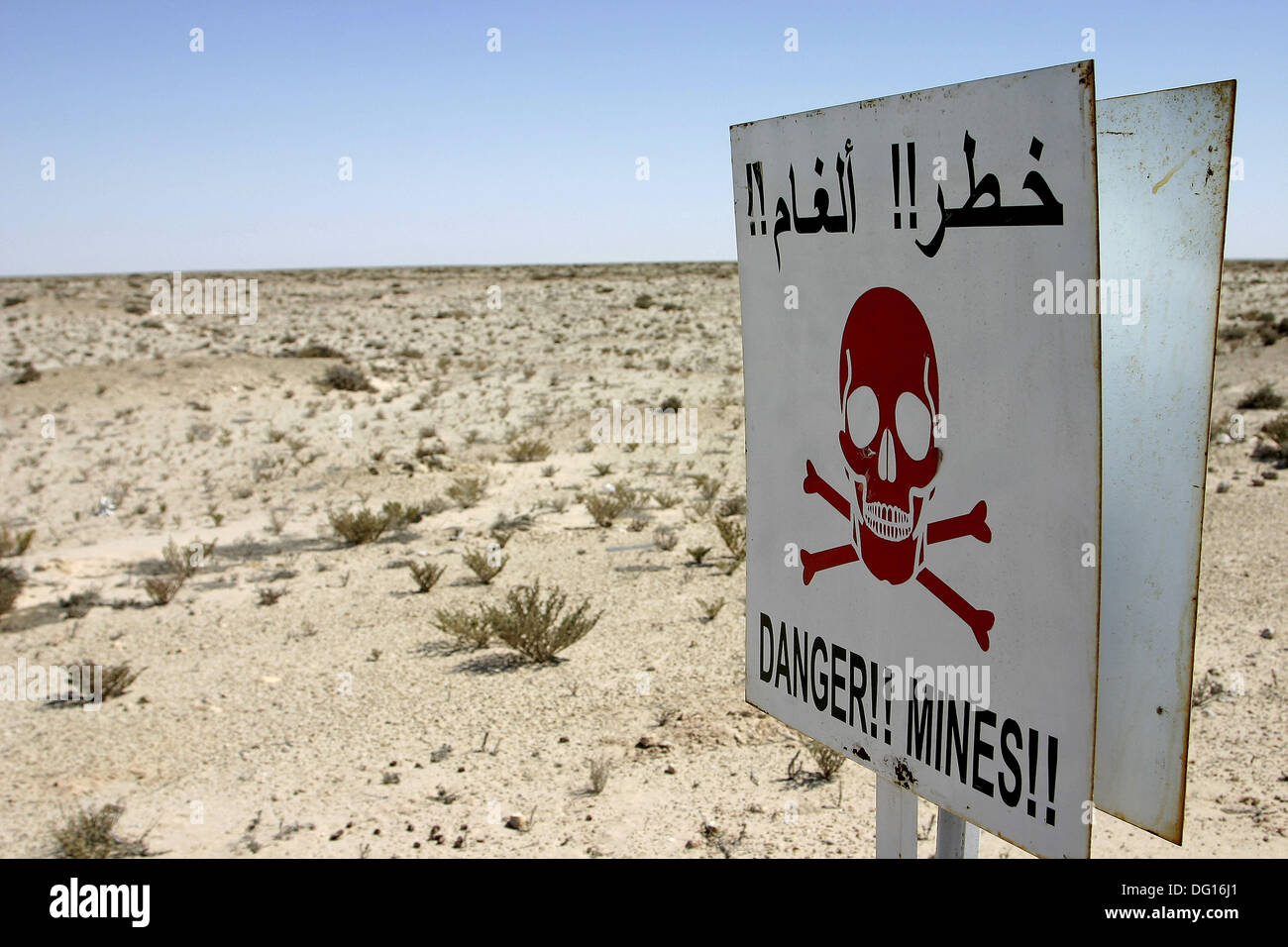 Minefield installed by Morocco in the territories occupied to the Arabic Saharan Democratic Republic - Stock Image