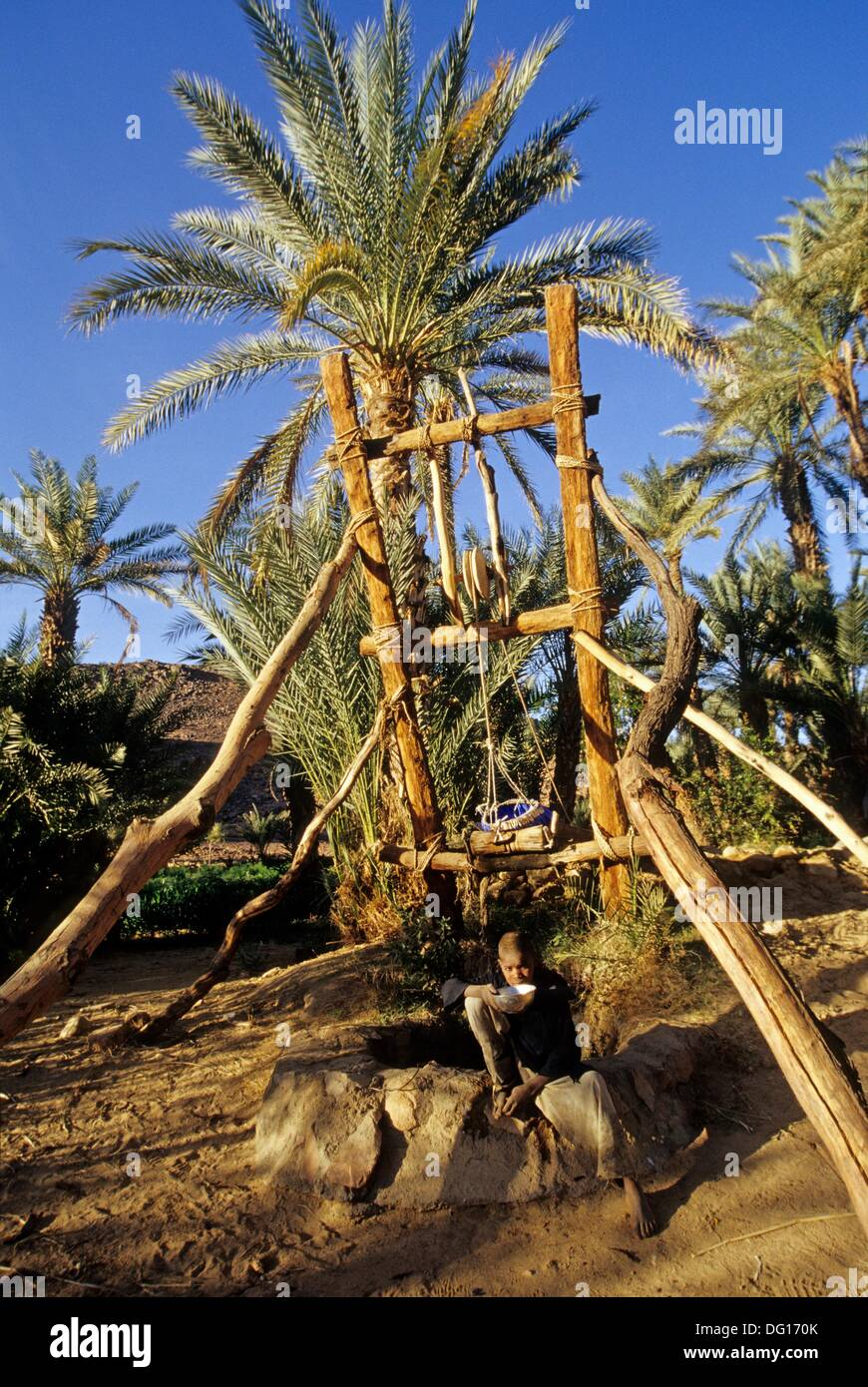 well in garden and palm grove of Timia,Aïr,Niger,Western Africa - Stock Image