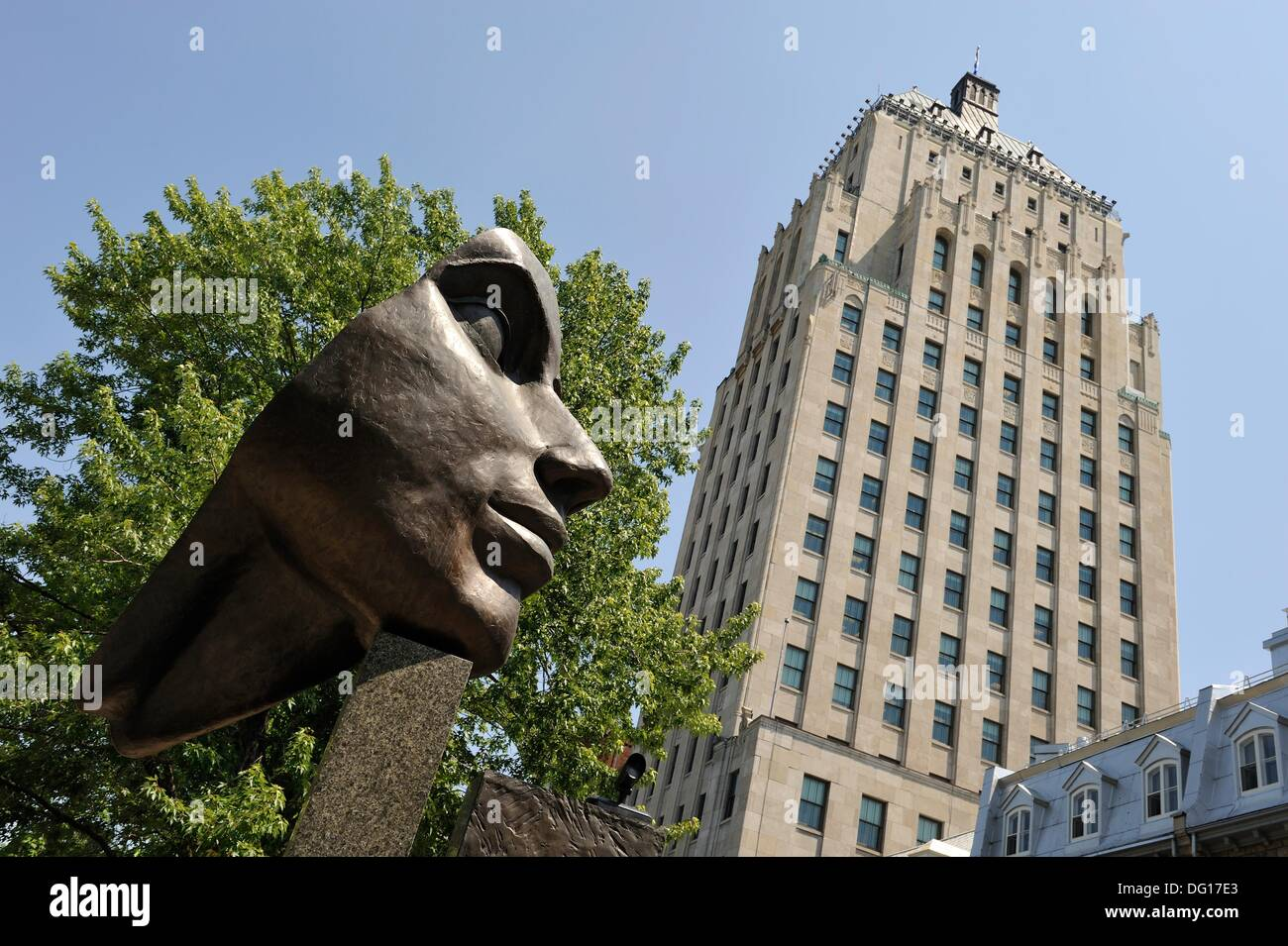 Sculpture down the Edifice Price, Quebec city, Province of Quebec, Canada, North America - Stock Image