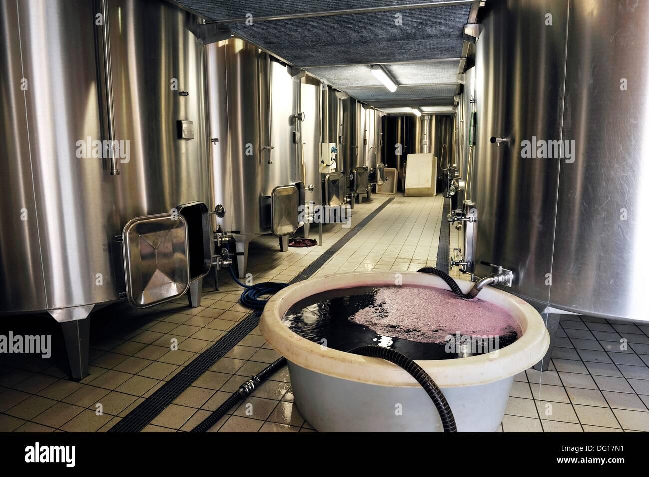 wine making vat of Chateau Beauregard, Pomerol, Gironde department, Aquitaine region, south-western France, Europe - Stock Image