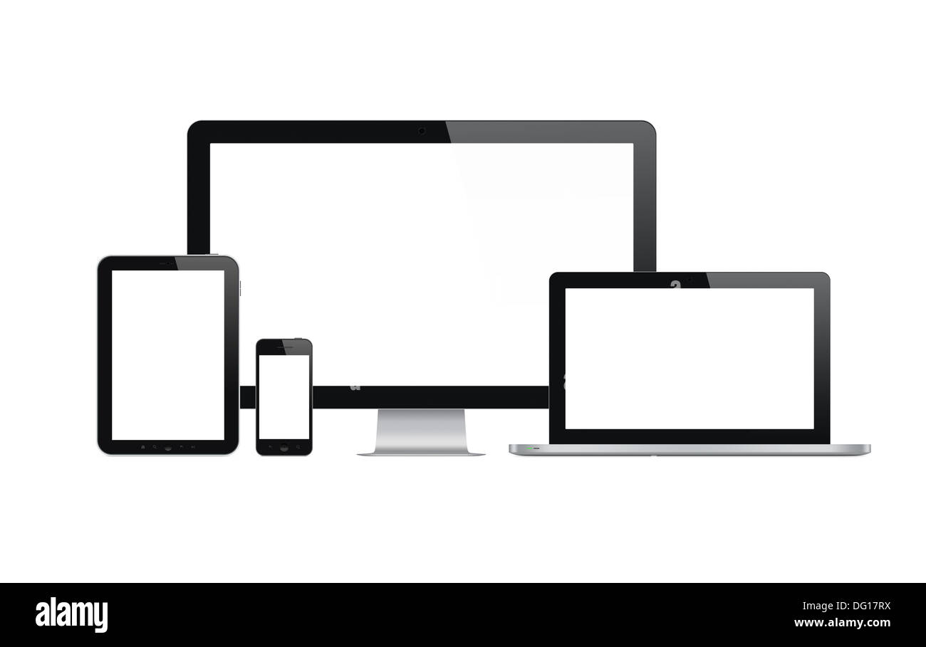 High quality illustration set of modern technology devices with blank screen. Isolated on white background. - Stock Image