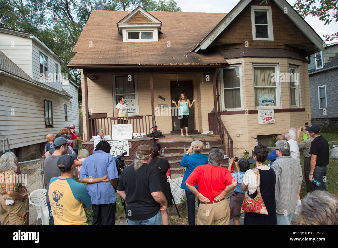 vigil to prevent eviction of detroit family stock photo 61494928