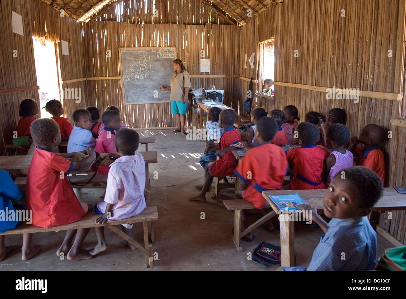 school in Hell-Ville Andoany, Nosy Be island, Republic of Madagascar, Indian Ocean - Stock Image