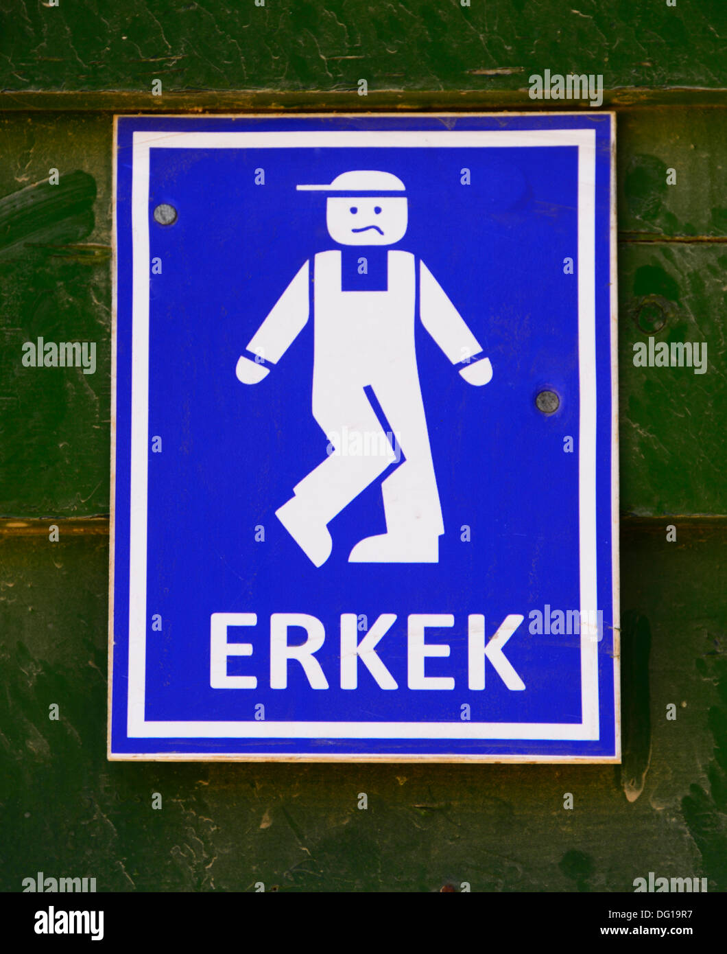 Humorous men's lavatory sign in Turkish. - Stock Image