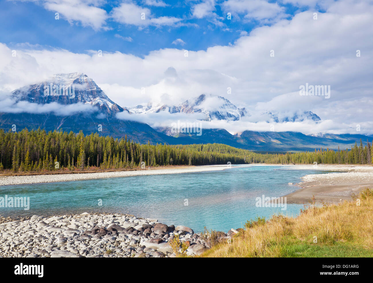 The Athabasca River flowing through Jasper National Park Canadian Rockies Alberta Canada - Stock Image
