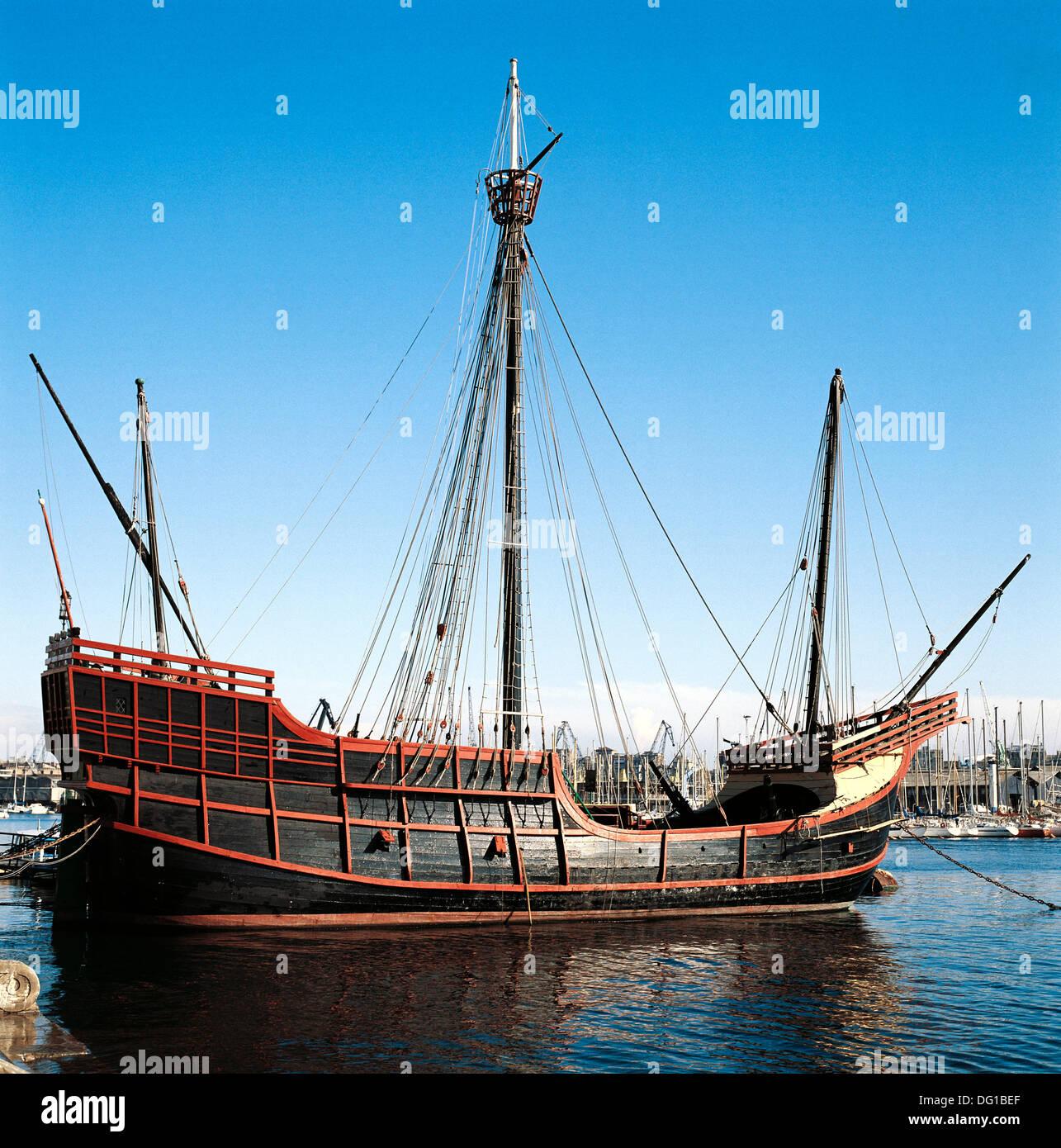 Replica of caravel Santa Maria at port, Barcelona. Catalonia, Spain - Stock Image