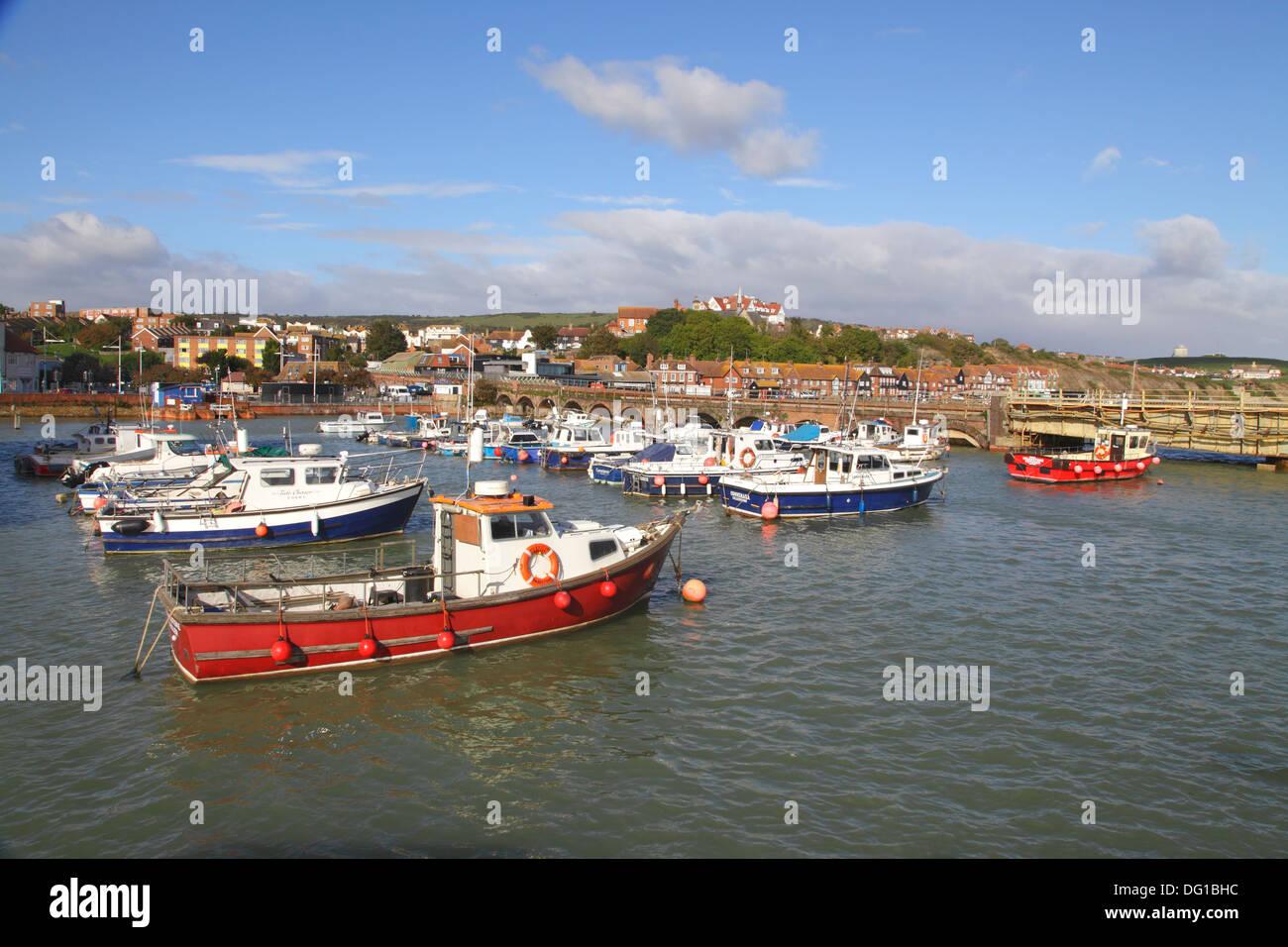 Fishing boats in Folkestone Harbour Kent England UK - Stock Image