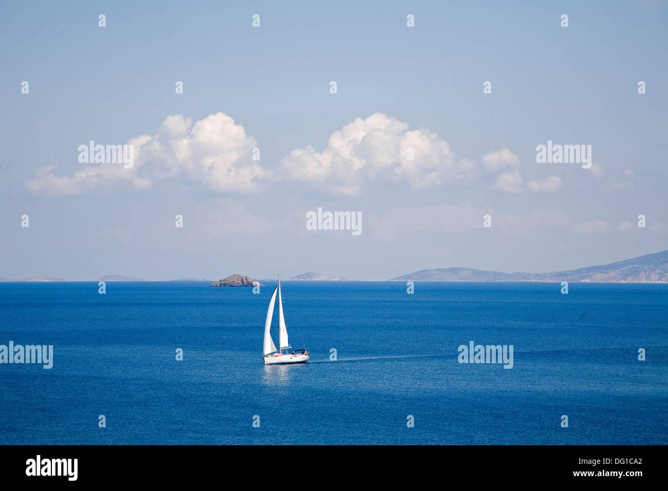 europe, greece, dodecanese, patmos island, sailing boat - Stock Image