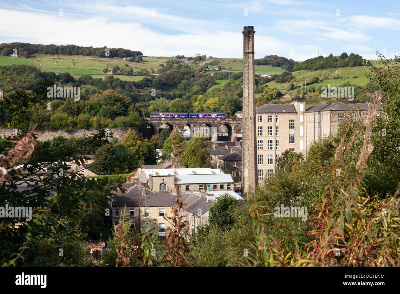 Spa Mills and railway viaduct, Slaithwaite, West Yorkshire - Stock Image