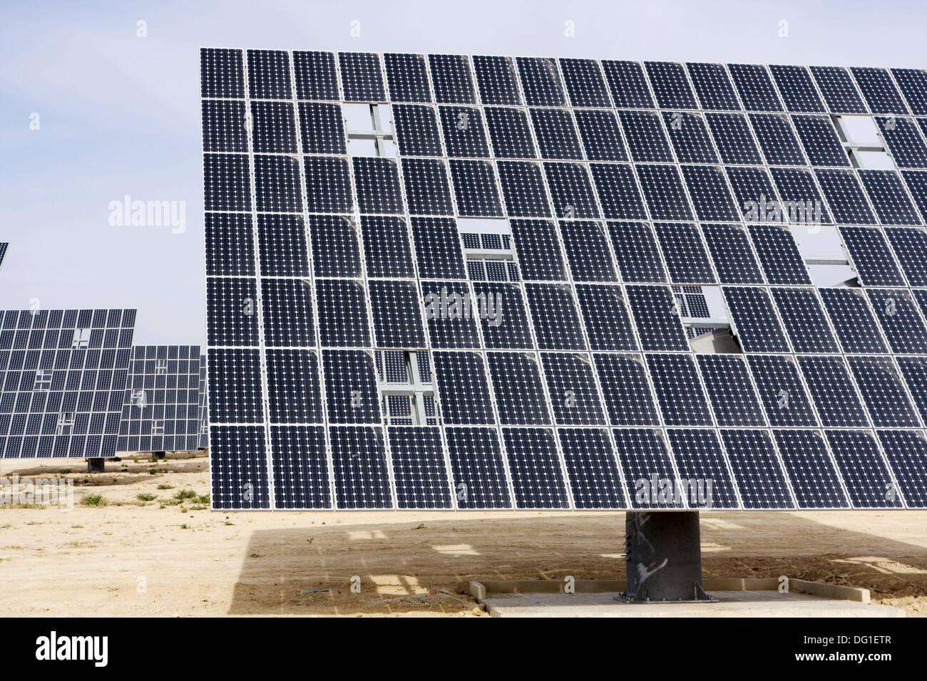 Solar panels by highway C-415 between Murcia (city) and Bullas. Murcia, Spain - Stock Image