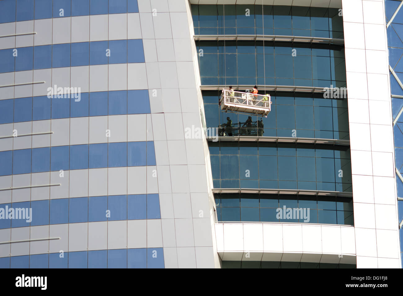 Window cleaners on the the World Trade Centre Building, Manama, Kingdom of Bahrain - Stock Image