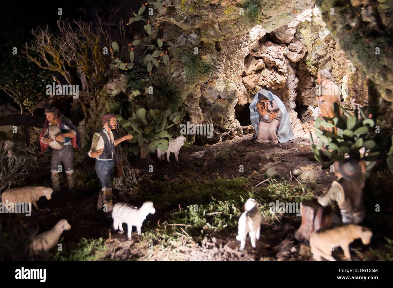Nativity scene at Notre-Dame de Paris - France - Stock Image