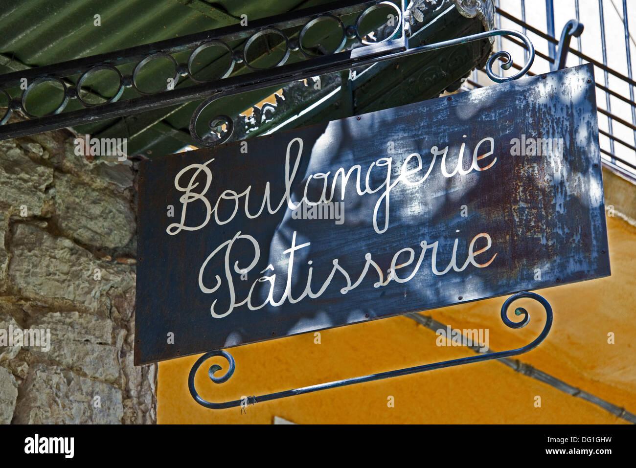 Boulangerie Pâtisserie, french bakery sign - La cadière d'Azur, Var, France - Stock Image