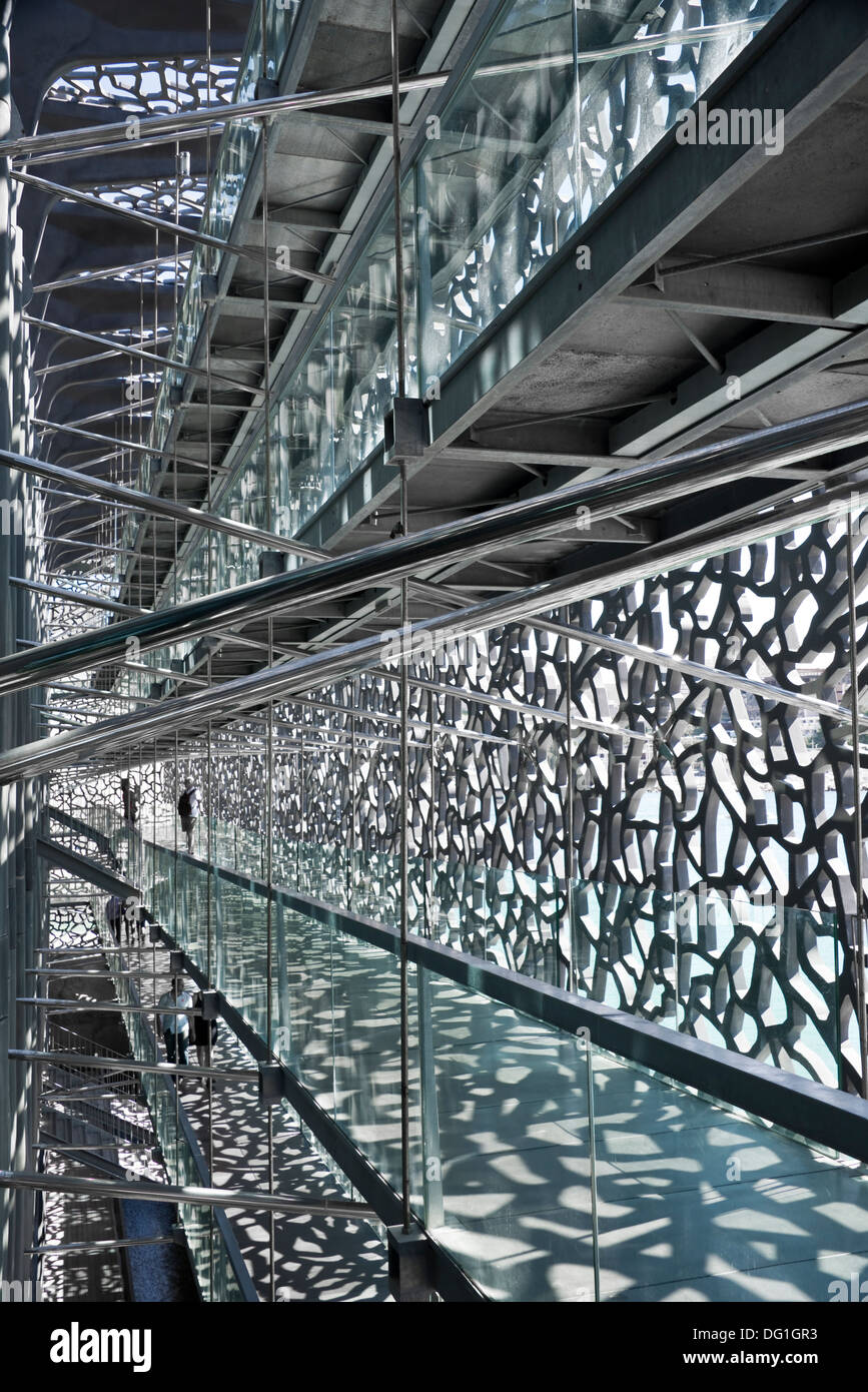Inside the MUCEM, museum of European and Mediterranean Civilisations - Marseille, France - Stock Image