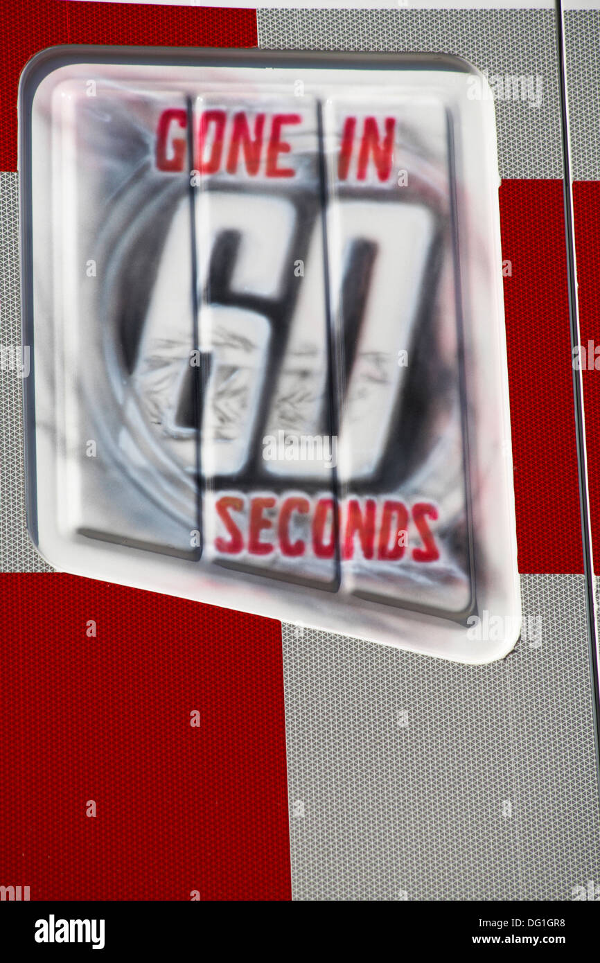 Gone in 60 seconds sign - Stock Image