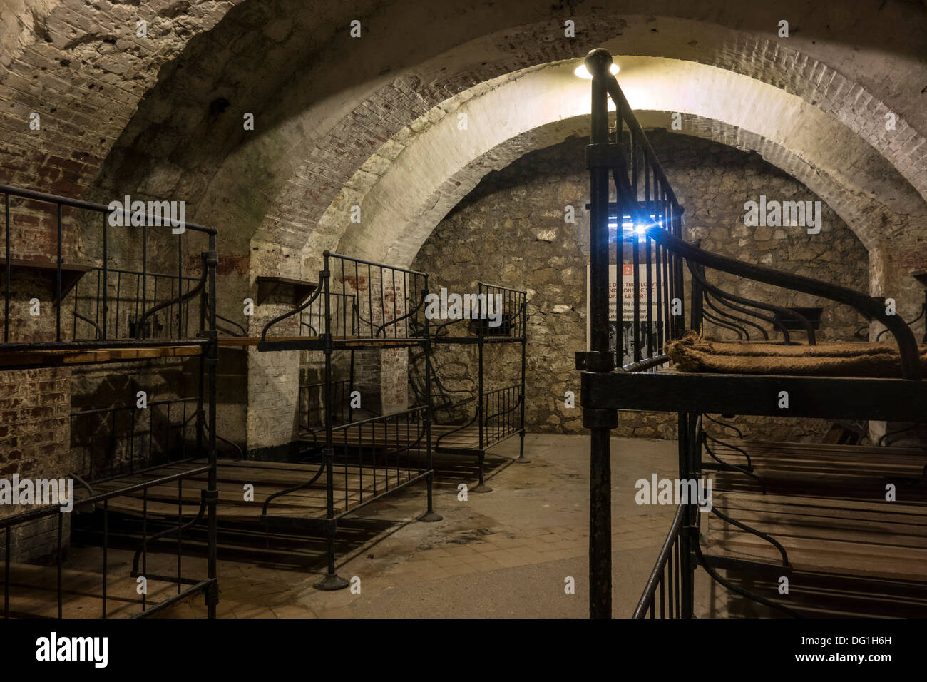 Dormitory with metal bunks in the First World War One Fort de Vaux at Vaux-Devant-Damloup, Lorraine, Battle of Verdun, France - Stock Image