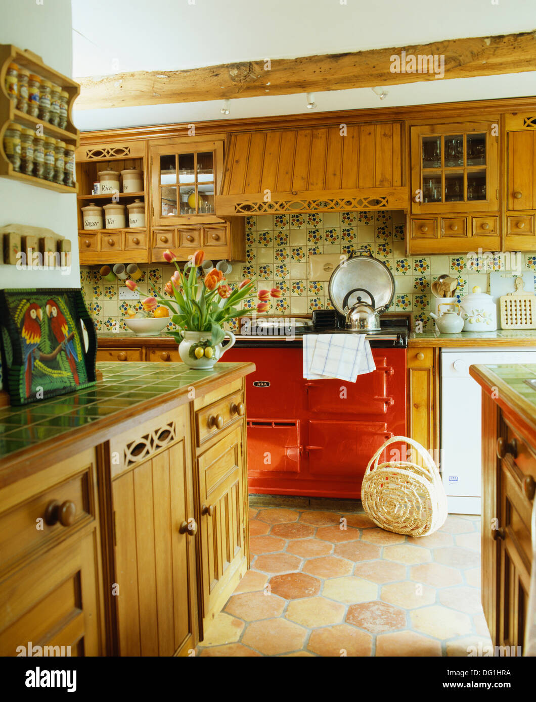 retro country kitchen fitted oak units with green tiled worktops in country 1927
