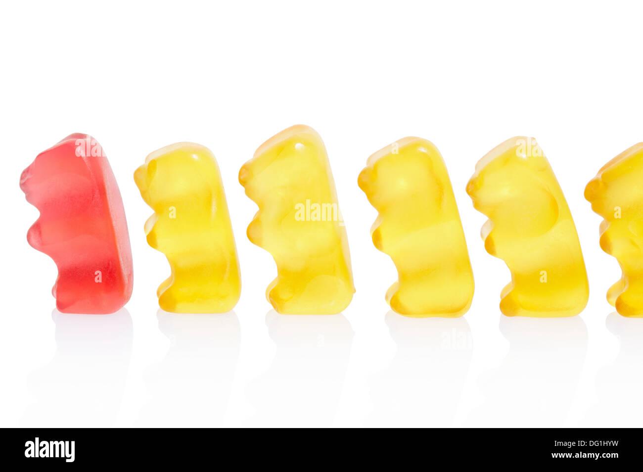 Gummy bears leader concept - Stock Image