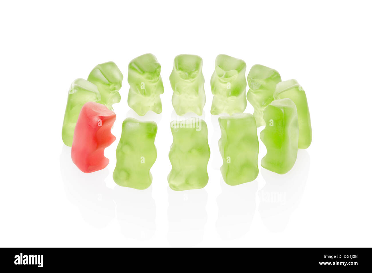 Gummy bears meeting, leadership concept - Stock Image
