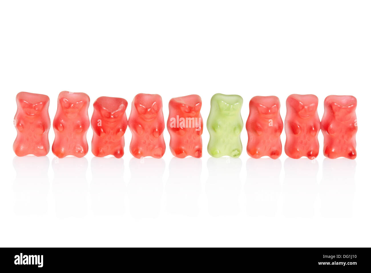 Gummy bears candies row, difference concept - Stock Image