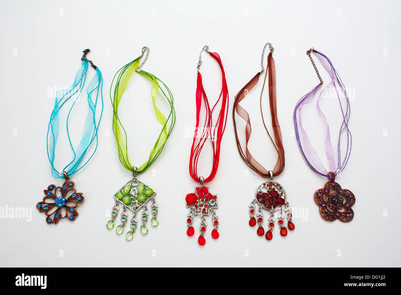 Colorful gem stones jewelry necklaces Stock Photo