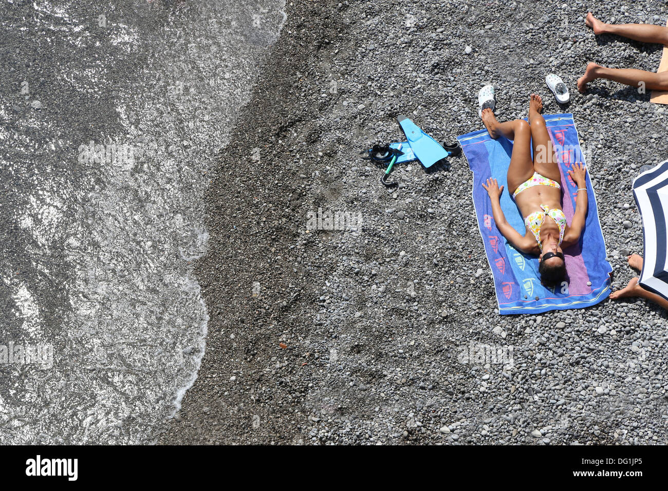 Sunbather, Amalfi, Italy - Stock Image