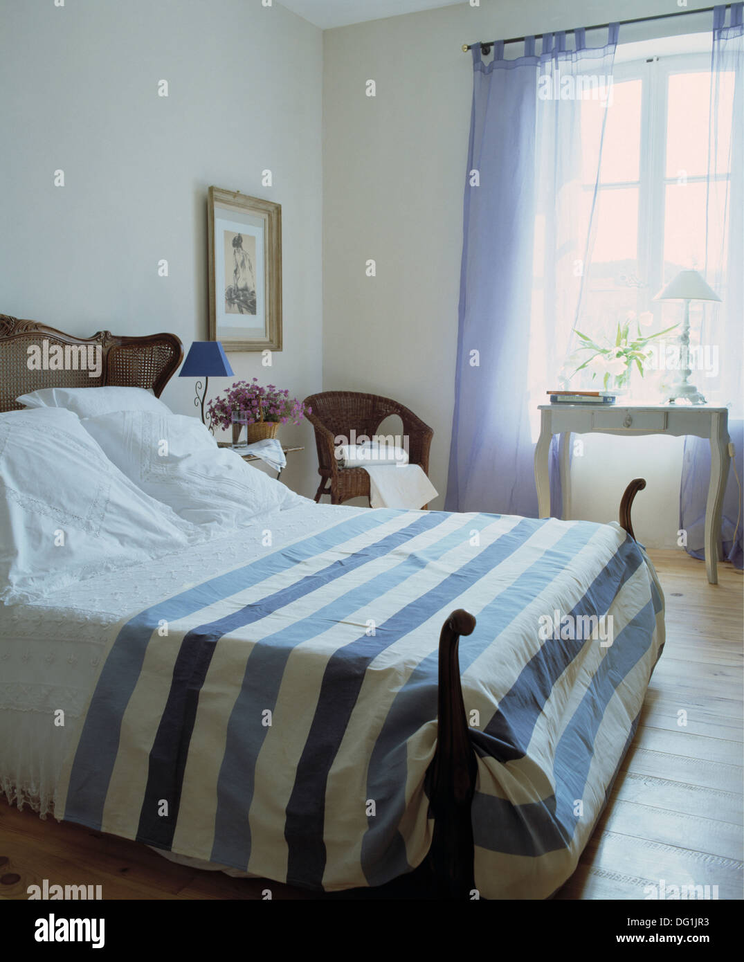 Blue+white striped bedspread and white pillows on antique ...