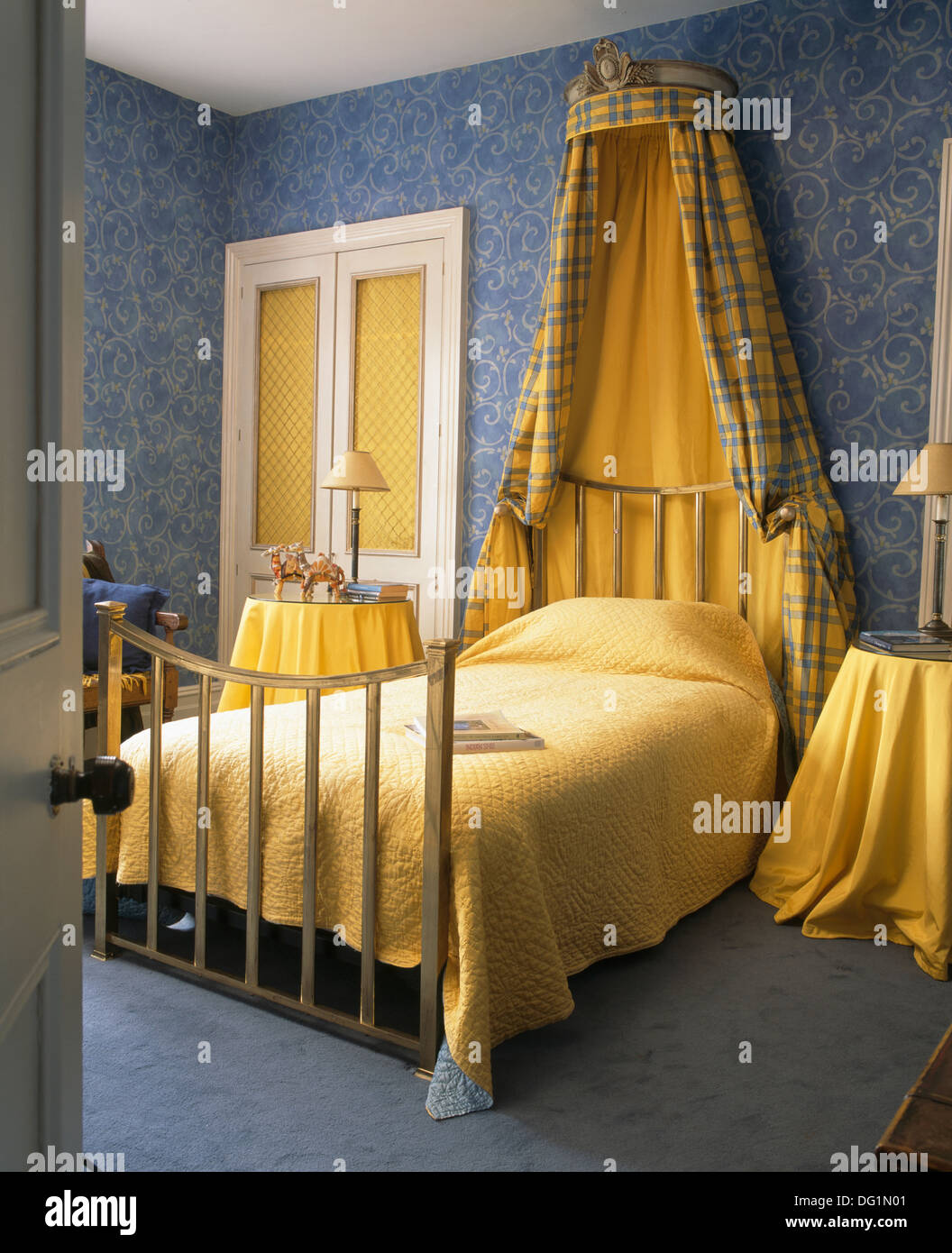 drapes stock above and with yellow photos in brass quilt wallpaper photo bedroom bed coronet blue drape