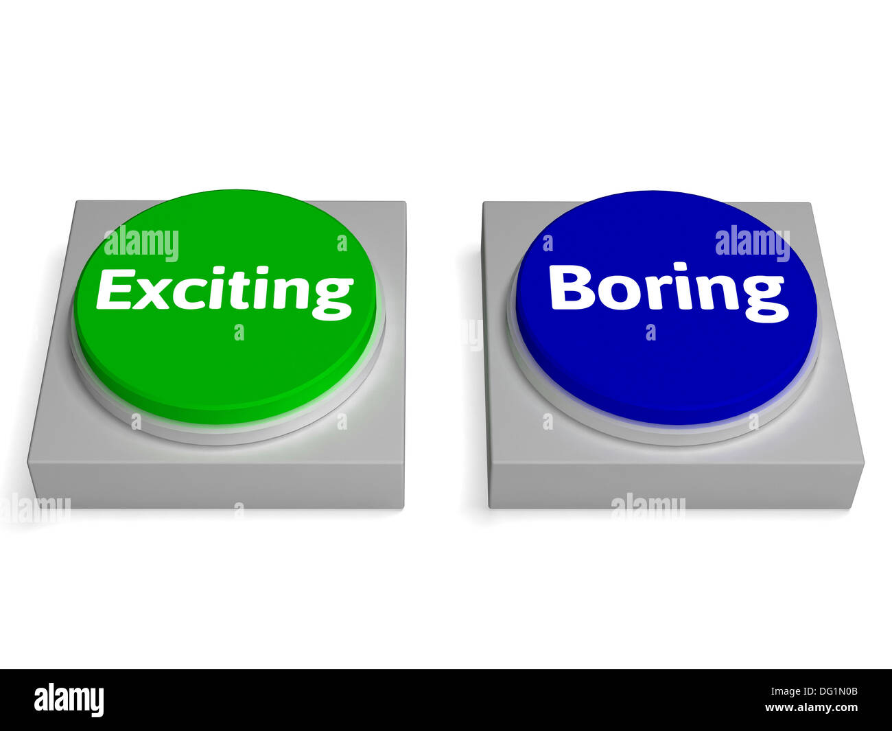 Exiting Boring Buttons Showing Excitement Or Boredom Stock Photo