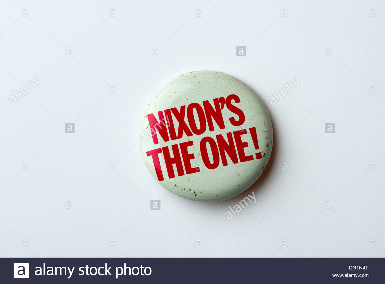 A political button from the seventies. - Stock Image