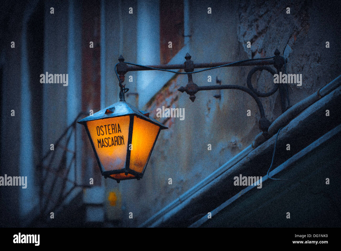 Mystical view of a glowing lantern, Venice, Italy, Europe - Stock Image