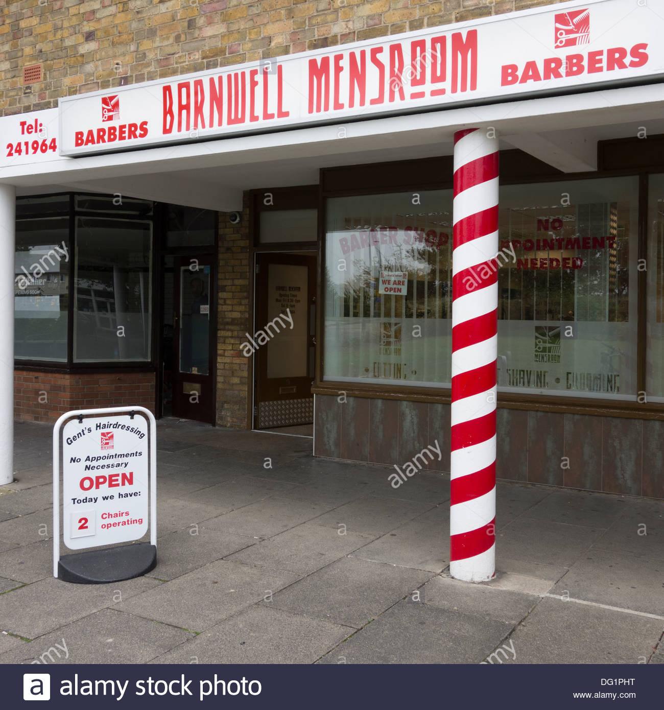 Barbers shop in Barnwell, Cambridge - Stock Image