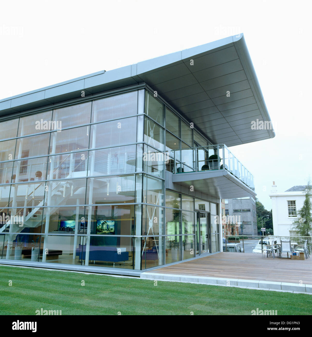 wooden office buildings. Cantilevered Roof On Modern Glass And Steel Office Building With Balcony Wooden Decking Buildings