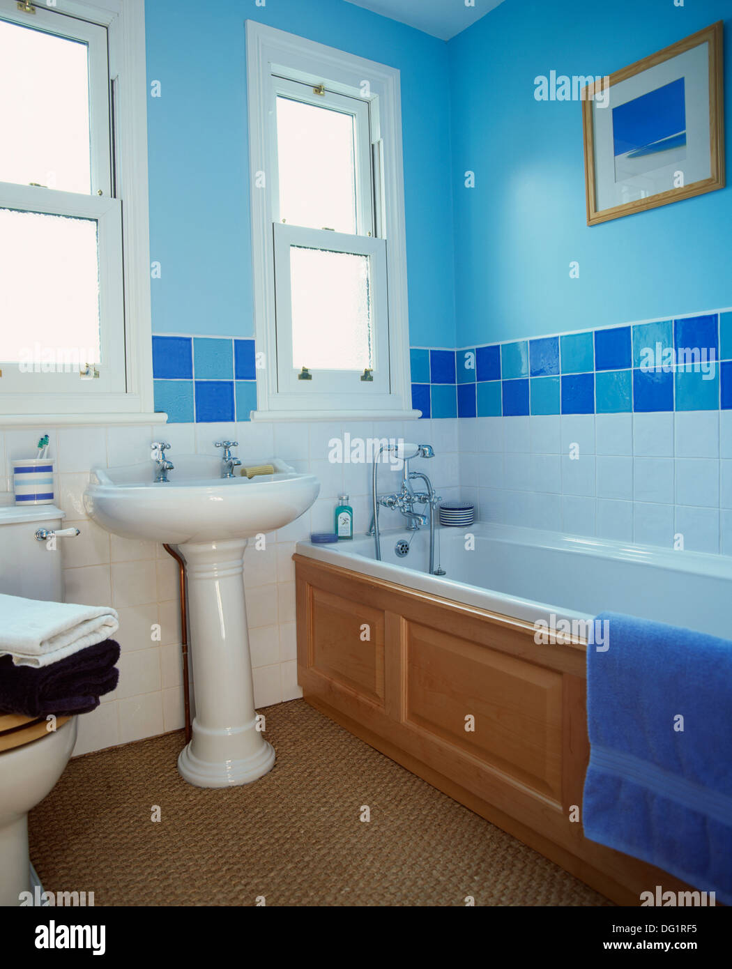 Blue Tiles Above Bath In Stock Photos & Blue Tiles Above Bath In ...