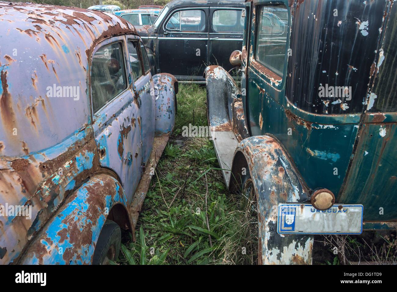 Junkyard Recycling Garbage Car, Uruguay, Latin America - Stock Image