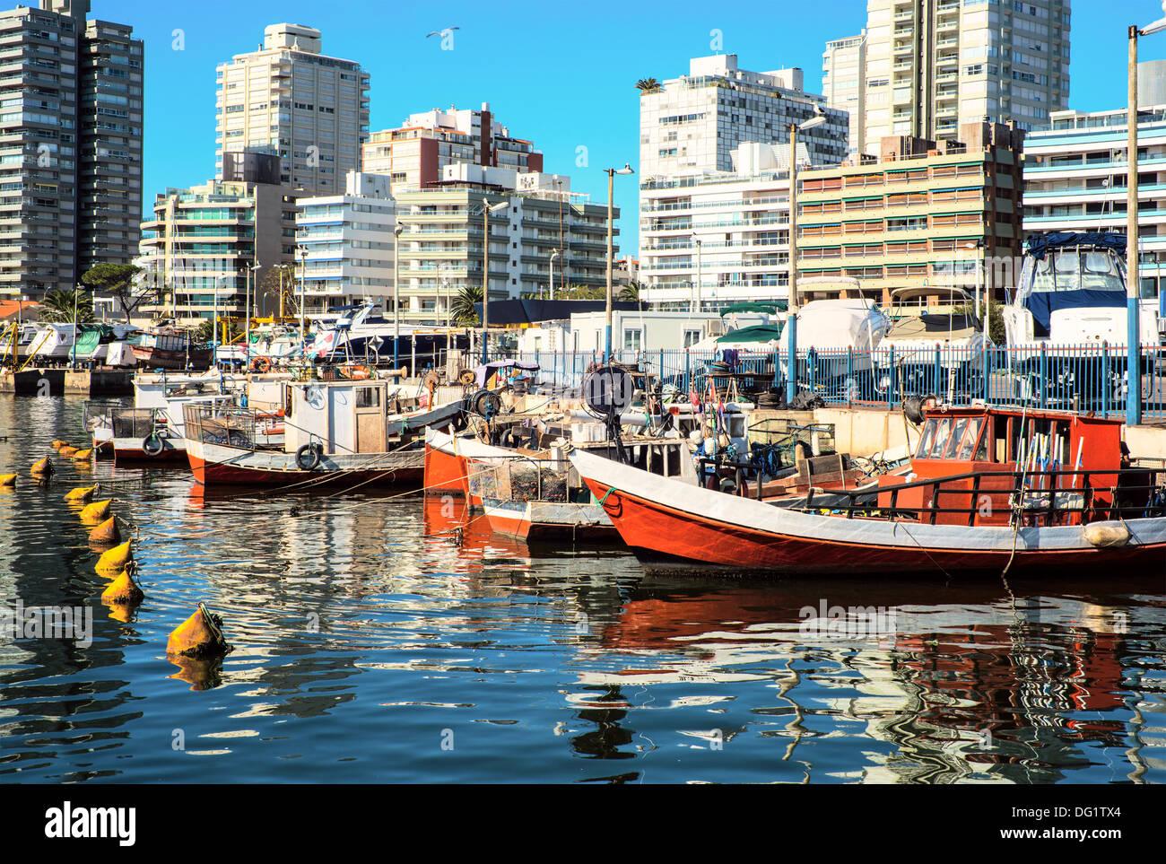 Fishing boats, Punta del Este, Uruguay - Stock Image