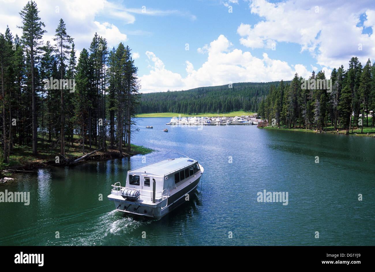 Elk265-2470 Wyoming, Yellowstone National Park, Yellowstone Lake, tour boat at Bridge Bay - Stock Image